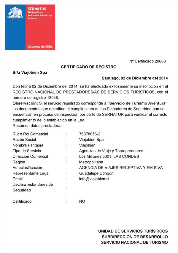 Certificado Sernatur - Viajobien.cl